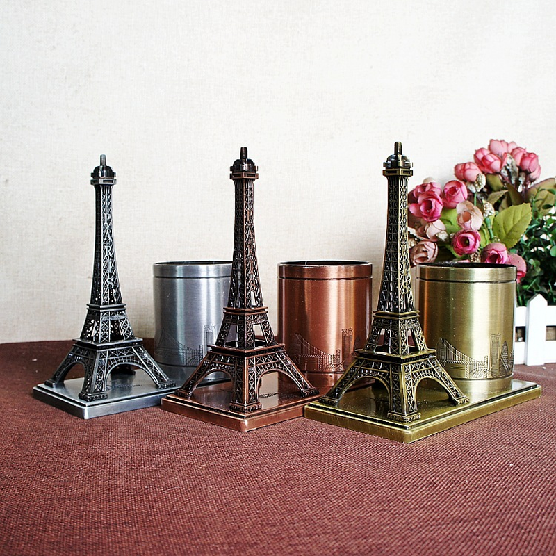 Eiffel Tower Pen Platinum Metal Office Desktop Finishing Storage Tower Pen Pen Bucket Storage Gift Teacher Supplies цена