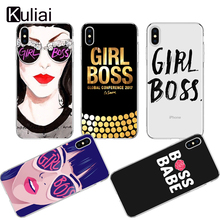 Cute Cartoon Sexy lips Girl Boss Case For iPhone X 8 XR XS MAX 6 6sPlus 5s SE 7 7plus XX Transparent Protective Phone Bags Cover