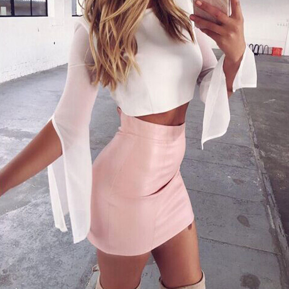 Pink Brown Women Solid Sexy High Waist A-Line Mini Skirt PU Leather Summer Hot Streetwear mini skirt sexy 2019 faldas mujer cg