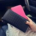 2017 new fashion crocodile pattern single pull wallet women leisure clutch bag long zipper female wallet