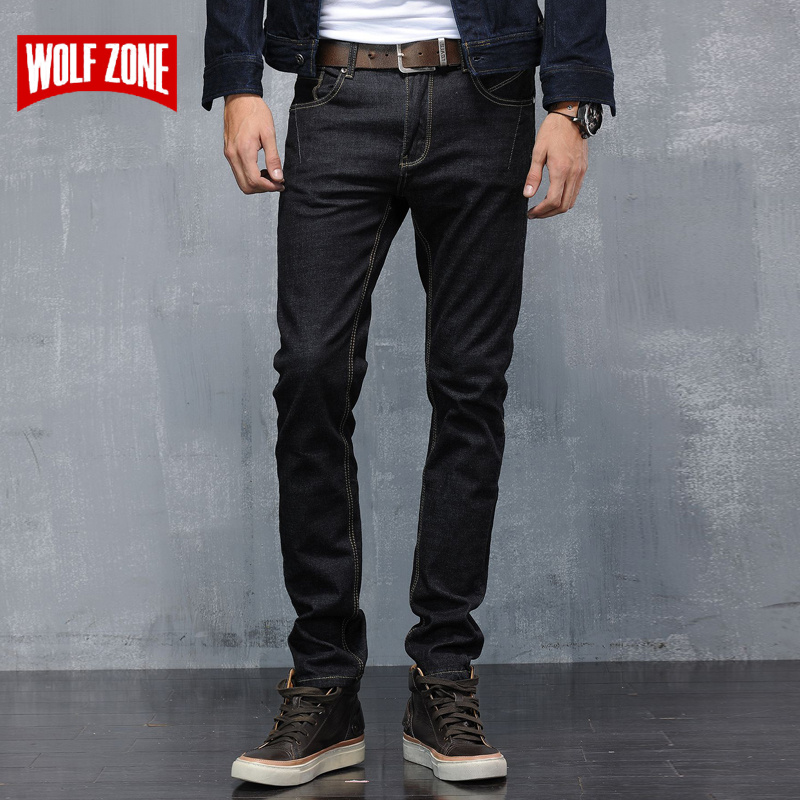 Top Fashion Slim Fit   Jeans   Men Mid Pencil Pants Cotton Full Length Robin Famous Brand Mens Clothing Enzyme Wash Denim Trousers