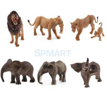 Realistic Wildlife Animal LionElephant Model Figurine Action Figures Kids Playset Educational Toy figurine