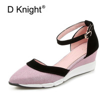2018 Spring Summer Women Shoes Fashion Ankle Strap Women Pumps Wedge Pointed Toe Patchwork High Heels Sandals Women Casual Shoes fashion design women full grain leather pumps summer ankle wrap cool high heels shoes for women closed toe women sandals