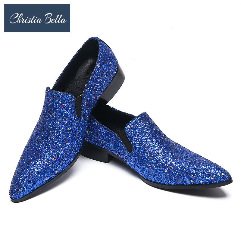 Christia Bella Shinny Blue Gliiter Mens Shoes Slip On Dress Shoes Handmade Flats Loafer Shoes Men Wedding Party Shoes Plus SizeChristia Bella Shinny Blue Gliiter Mens Shoes Slip On Dress Shoes Handmade Flats Loafer Shoes Men Wedding Party Shoes Plus Size