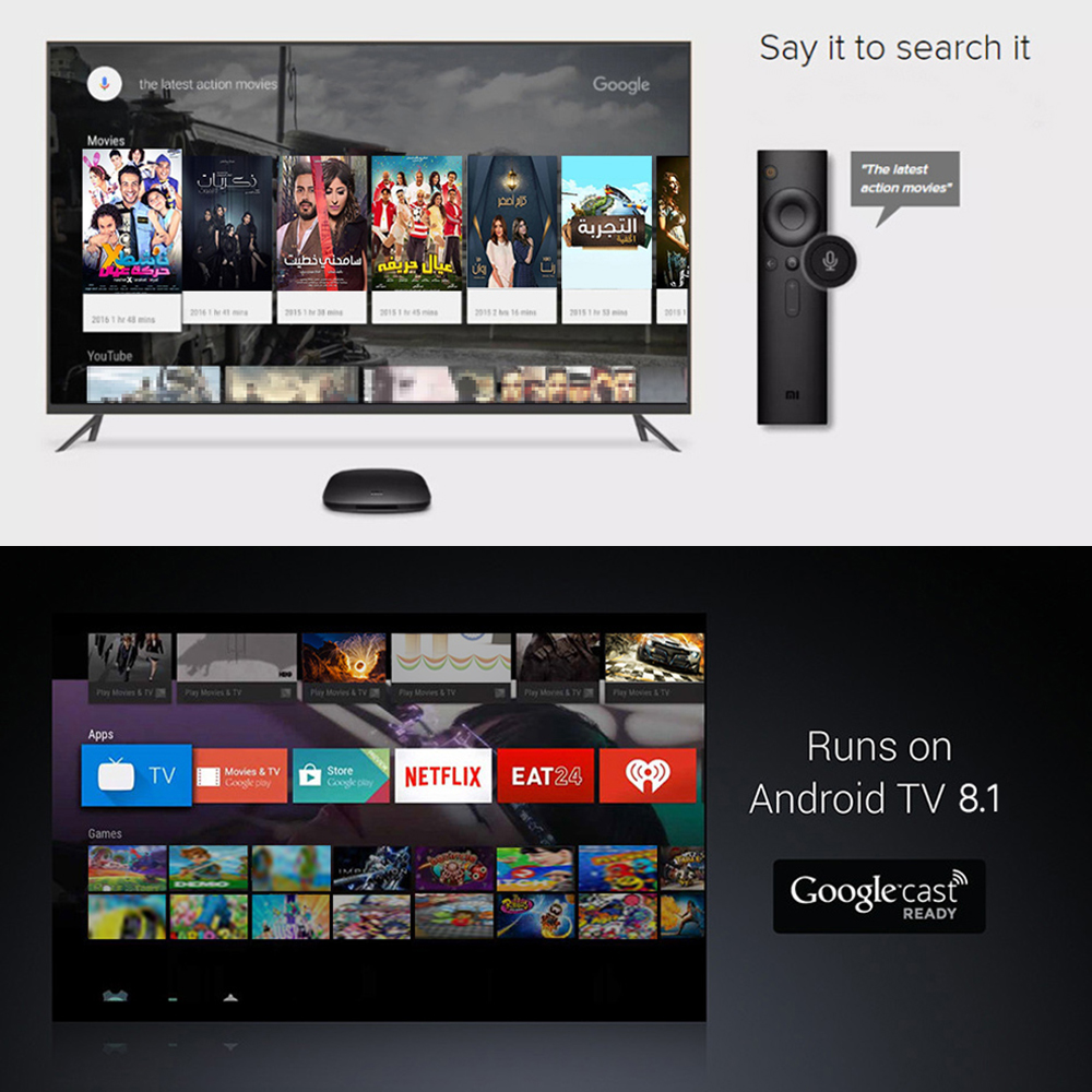 Image 5 - Xiaomi MI BOX 3 Android 8.0 Smart WIFI Bluetooth 4K HDR H.265 Set top Box Youtube Netflix DTS IPTV Media Player Xiaomi MI Box 3-in Set-top Boxes from Consumer Electronics