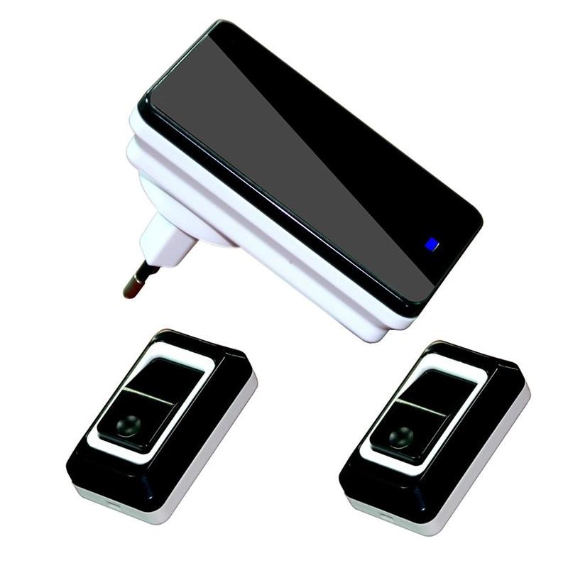 2017 New Waterproof Eu-Plug Wireless Door Bell  2 Outdoor Transmitter + 1 Indoor Receiver Smart Wireless Doorbell new restaurant equipment wireless buzzer calling system 25pcs table bell with 4 waiter pager receiver