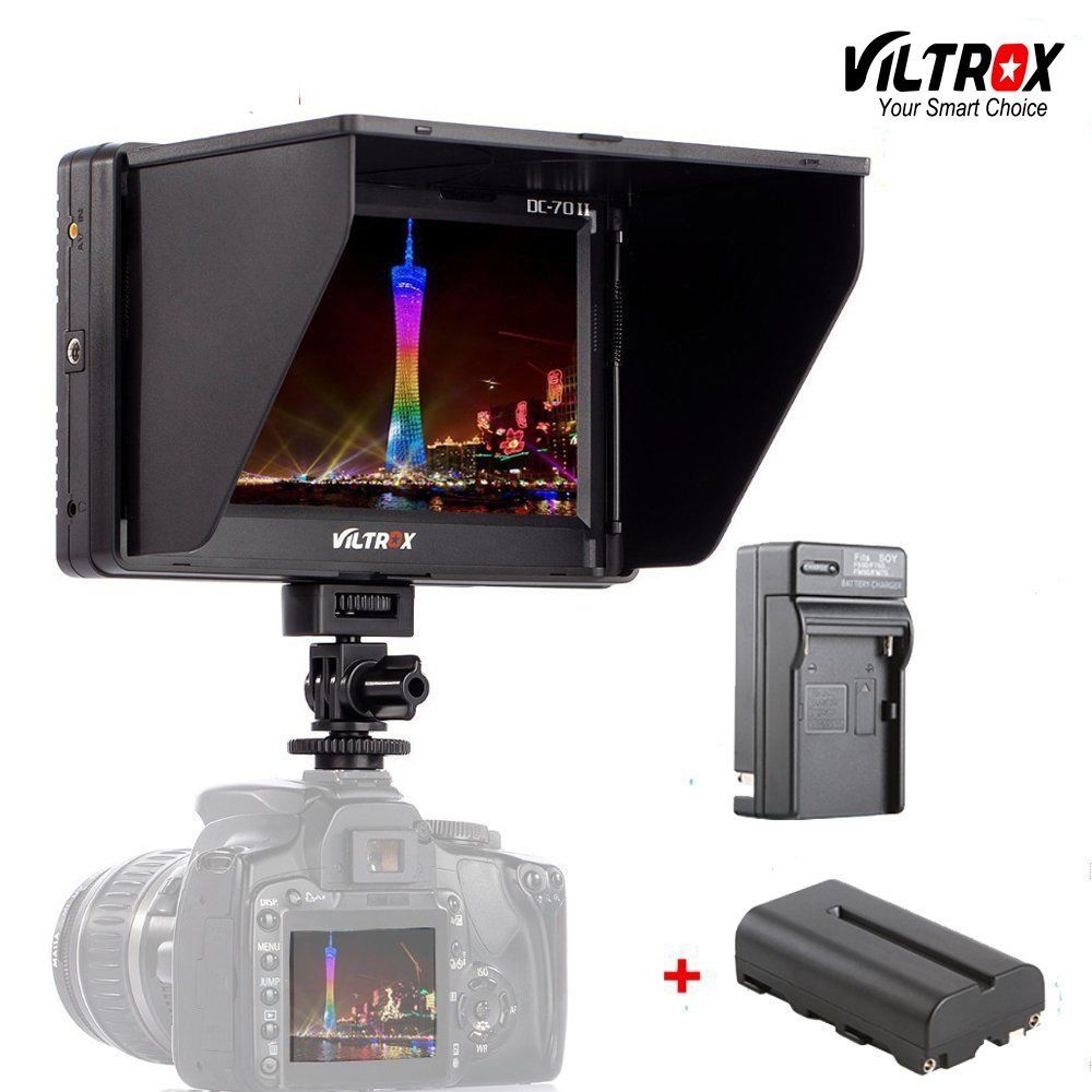 Viltrox DC-70II 7 4K LCD Camera Video Monitor HDMI AV Input 1024*600 Display For Canon Nikon BMMCC DSLR & battery & charger
