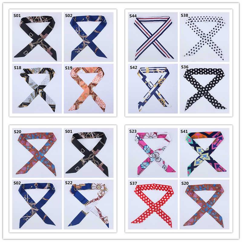2019 nouvelle soie maigre écharpe femmes imprimer concepteur bandeau de cheveux foulards pour dames Long ruban sac écharpes cravate femme mode