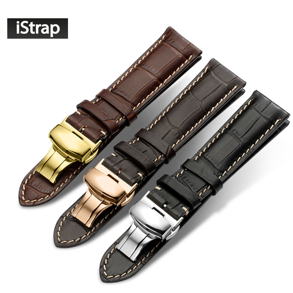 Watchband Leather Black Brown Dark brown iStrap Watch Band 18mm 19mm 20mm 21mm 22mm Replacement Strap Polished Deployment Buckle 18mm 20mm 21mm 22mm new mens black brown alligator leather watch strap band deployment watch buckle
