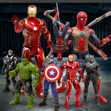 Avengers Infinity War Hulk Superhero Spiderman Black Panther Iron Man Batman America Captain Action Figure collection toy avengers infinity war iron man captain america thor batman black panther with led light and sound pvc action figures toy box w86