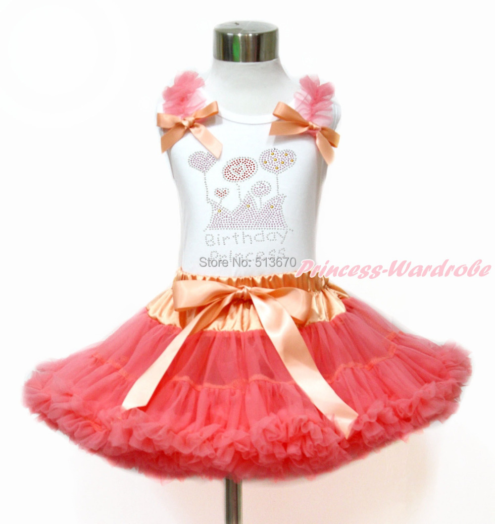 Rhinestone Birthday Princess Ruffle Bow White Top Coral Girl Pettiskirt Set 1-8Y MG1180 4th july america flag style stripe pettiskirt white ruffle tank top 2pc set 1 8year mamg1143