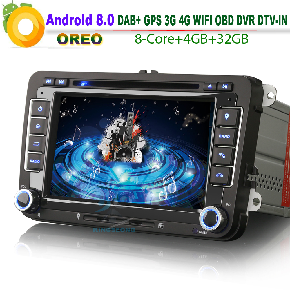 7″ Android 8.0 DAB+Autoradio Sat Nav GPS CD Car Stereo WiFi 3G RDS BT DVD Radio SD DVR Bluetooth DTV-IN USB for VW EOS