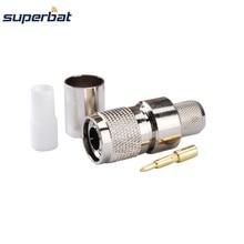 Conector coaxial masculino do rf da tomada do friso de superbat 10 pces tnc para o cabo coaxial rg8 rg213, rg214, lmr400