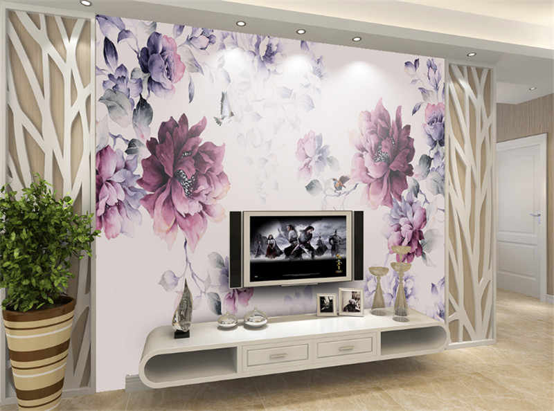 Flower Wallpaper Black And Purple Photo Wall Murals S Bedroom Home Decor Ideas