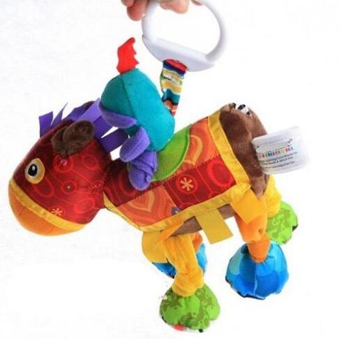 Candice guo! cavaleiro do cavalo bonito brinquedo de pelúcia colorido multifuncional cama pendurar chocalho do bebê de brinquedo de presente 1 pc