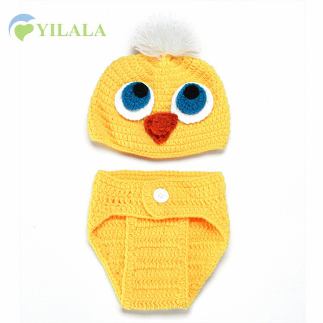 Cartoon Chicken Hat Cute Newborn Baby Set Cotton Solid Handmade Crochet  Baby Clothing Photograph Props Children d6f573f3bba