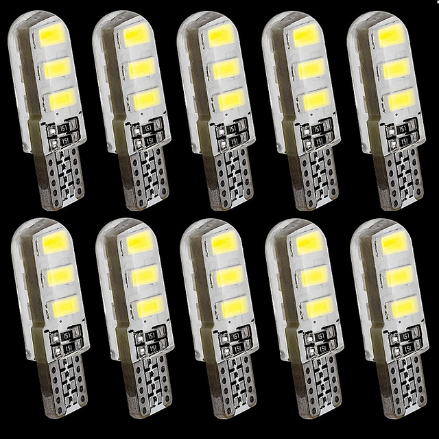 10PCS T10 W5W 6 SMD LED Silica Gel Waterproof Wedge Light 194 2825 WY5W Silicone Shell Car Reading Dome Lamp Auto Parking Bulb