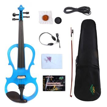 Yinfente Blue Electric Silent Violin 4/4 Hand-made Wooden Body Sweet Sound Free Case Bow Rosin#EV5