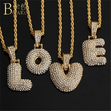 цена на BOAKO Bling Necklace Men/Women Initial Letter Necklace Gold Chain Iced Out Pendant Necklace Rapper collar Party Girl Jewelry Z5