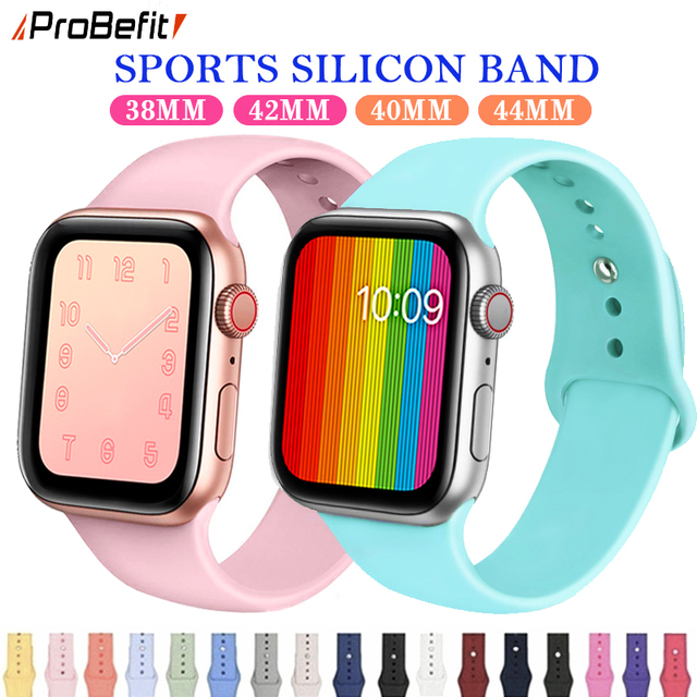 ProBefit suave silicona deportes banda de reloj para Apple 4 3 2 1 38 MM 42 MM, bandas de goma correa de reloj de correa para Iwatch serie 4 40mm 44mm
