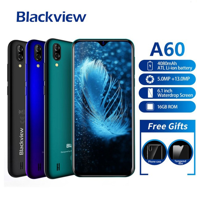 Core Smartphone Android 8 Blackview A60 4080 Mah Mobile Phone 1 Gb And 16 Gb 6.1 Inches 19: 9 Screen Mobile Phone Dual Camera 3g