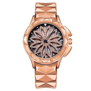 New Watch Woman Quartz Watch Fashion Dress Watch Ladies Classic Rotating Diamond Flower Girl Student Bracelet Watch Steel Strip diamond stylish watches for girls