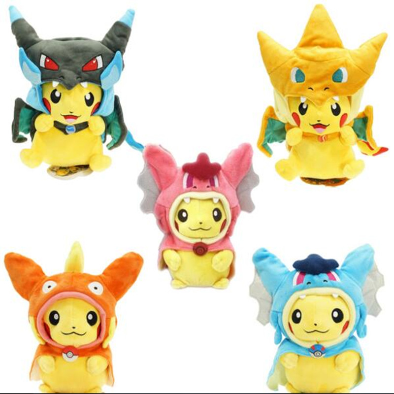 Pokemon Plush Toys Pikachu Cosplay Pikachu Mega Charizard Cotton Stuffed Animals Dolls Children Toys kids Christmas Gifts