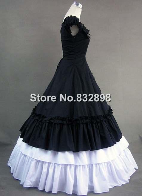 Costume Noir Robe Vitorian Gothique Victorienne victorien Blanc Élégance robe Et cj5S3LR4qA
