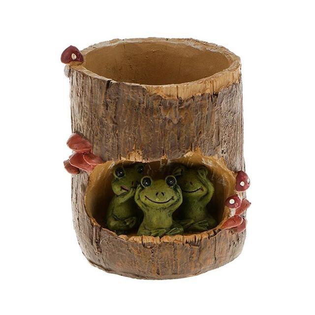 Niedlichen Grünen Frosch Blume Sedum Sukkulenten Pot Planter Bonsai Trog Box Anlage Bett Office Home Garten Topf Decor