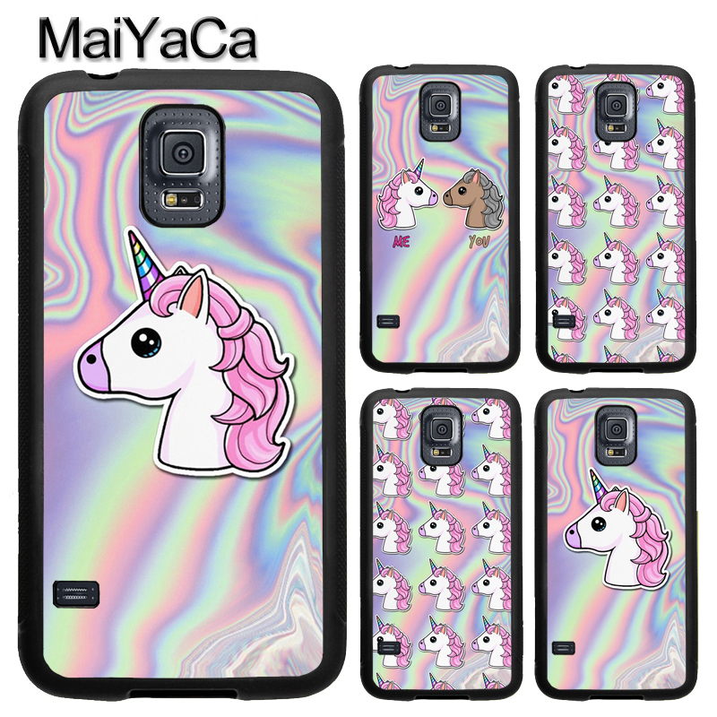MaiYaCa UNICORN PASTEL METALLIC HOLOGRAPHIC Full Cover Rubber Case for Samsung Galaxy S8 S9 Plus S4 S5 S6 S7 edge Note 8 5 Case