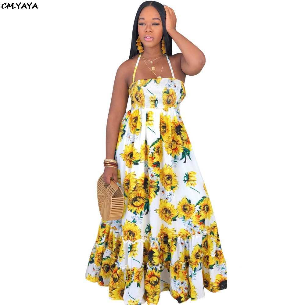 2019 nuove donne di estate girasole stampa hatler collo senza maniche big swing maxi abito vintage di modo vestiti lunghi vestido GlSMN3087