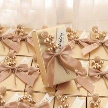 50 шт./партия, уникальный персонализированный контейнер для шоколада, коробки для конфет, свадебные подарки на заказ, Подарочная коробка для гостей