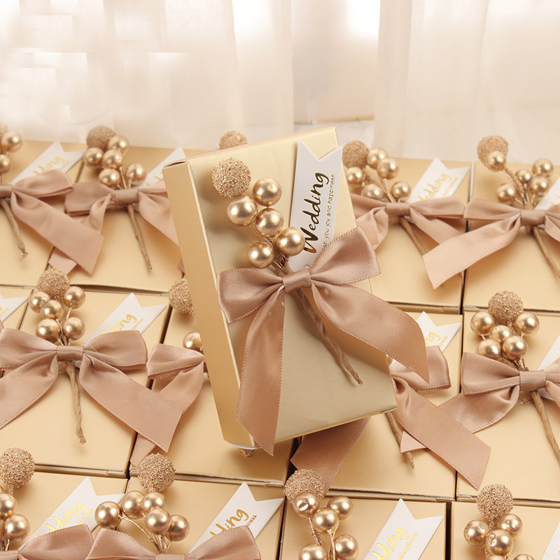 50pcs Lot Unique Personalized Chocolate Container Candy Boxes Wedding Return Gifts Custom Favor Box For Guests