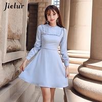 Jielur Autumn Long Sleeve Sky Blue Dress Women S XL Korean Style Brief Charming Sweet Vestidos Mujer 2019 Kawaii Slim Robe Femme