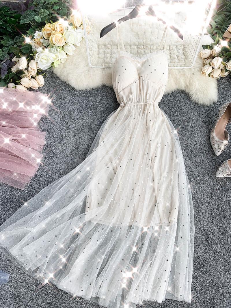 Sequins V-Neck Gauze Ruffles Mesh A-Line Dress 5