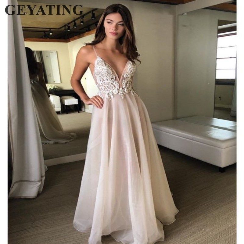 Backless Beach Wedding Dresses V Neck Flowing Vintage Boho: Sexy V Neck Backless Beach Wedding Dress With Straps Beads