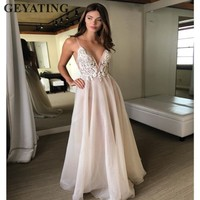 Sexy V Neck Backless Beach Wedding Dress with Straps Beads Lace Applique A line Hippie Country Bridal Wedding Dresses 2019 Berta