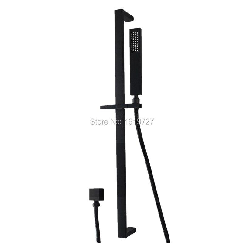 Высокое качество Ванная комната Черный квадрат ручной Насадки для душа рельс набор