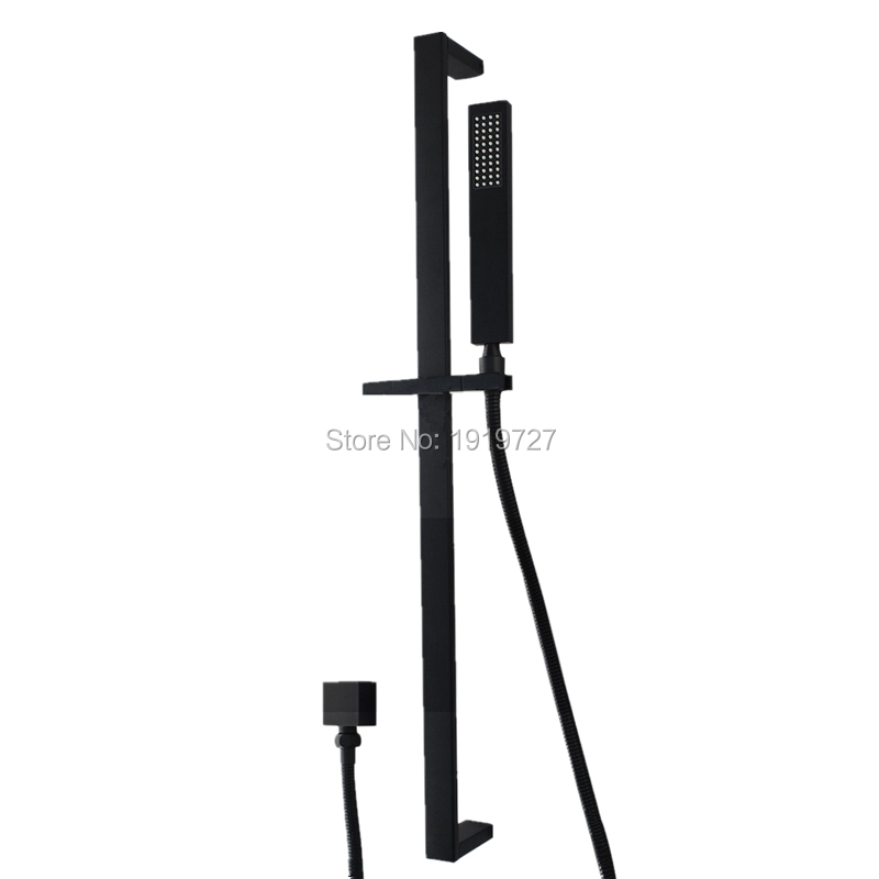 High Quality Bathroom Black Square Hand Held Handheld Shower Head Sliding Rail Set High Quality Bathroom Black Square Hand Held Handheld Shower Head Sliding Rail Set
