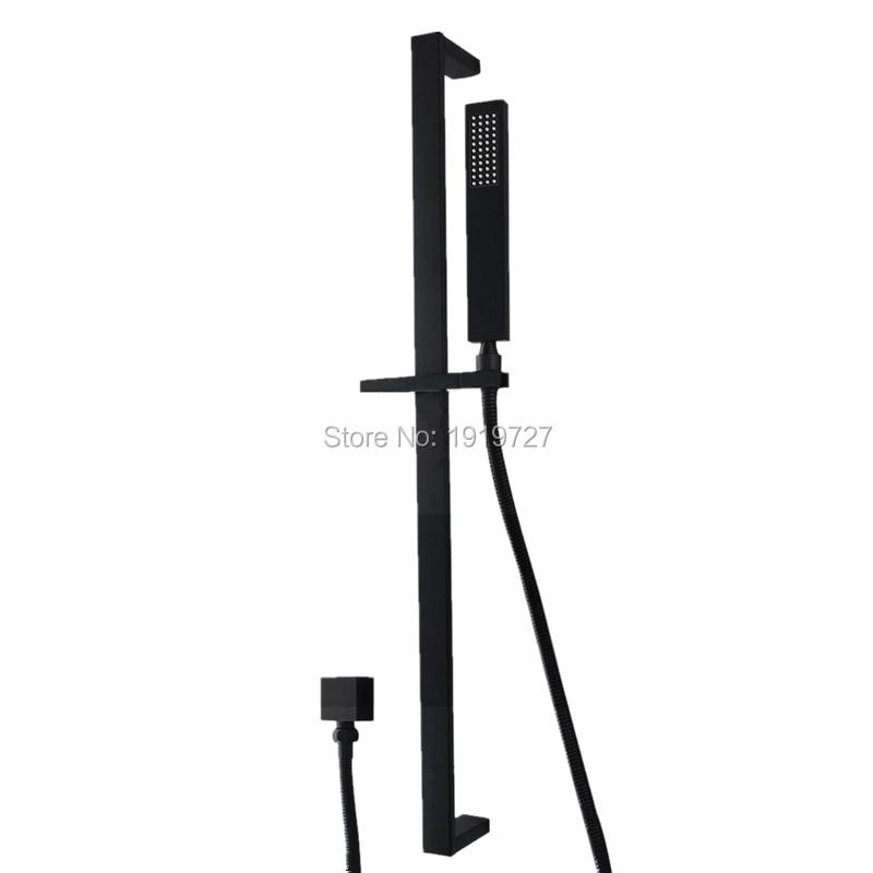 High Quality Bathroom Black Square Hand Held Handheld Shower Head Sliding Rail Set