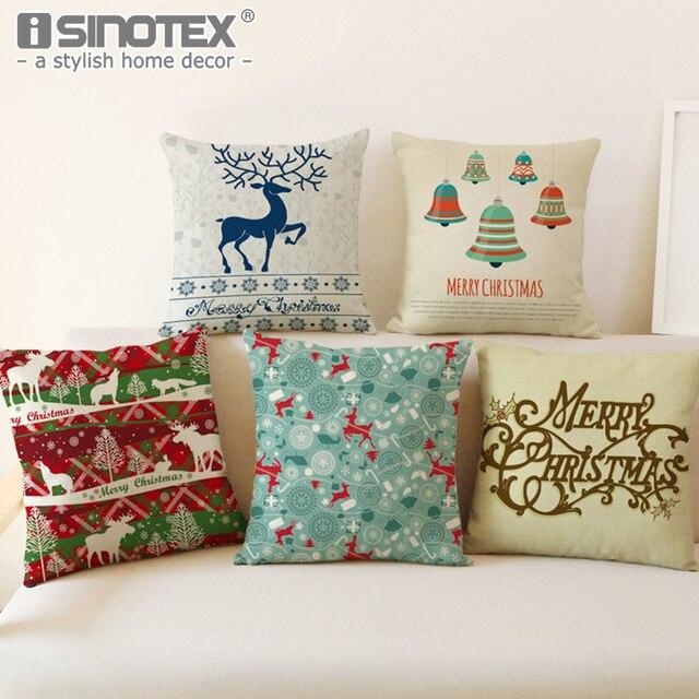 Linen Katun Kain Flanel Sarung Bantal Kasus Hadiah Natal Dekorasi Sofa Ruang Tamu