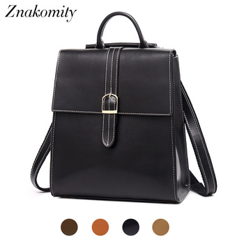 Znakomity Female women backpack genuine leather backpack vintage Fashion small black leather backpack women tote bag back pack