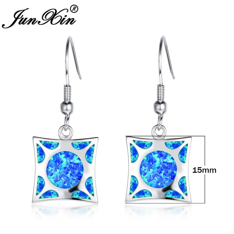 JUNXIN Christmas Jewelry Square Stone Blue Fire Opal Drop Earrings For Women White Gold Filled Rainbow Birthstone Earrings