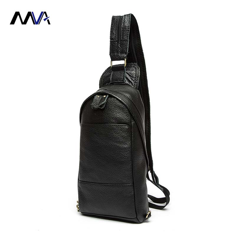 цены MVA Genuine Leather Mens Sling Bag Single Shoulder Bag Men Chest Pack Messenger Crossbody Bag for Man Bolsas Masculina