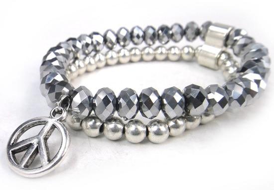 Новое поступление, 8 мм, блестящий серебряный хрустальный стеклянный браслет с подвеской мира, Женский растягивающийся браслет - Окраска металла: silver