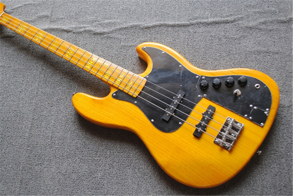 Libre de fret, basse électrique à 4 cordes, corps jaune, personnalisé