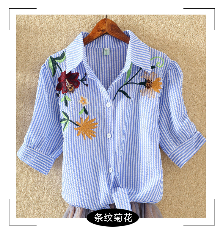 HTB1oEqORFXXXXbvXVXXq6xXFXXXP - Women Shirts Korean Short Sleeve Flower Embroidery Clothes