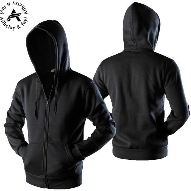 53f28eca4 New 2017 Plain Mens Zip Up Hoody Jacket Sweatshirt Hooded Zipper male Top  Outerwear Black Gray Boutique men Free shipping