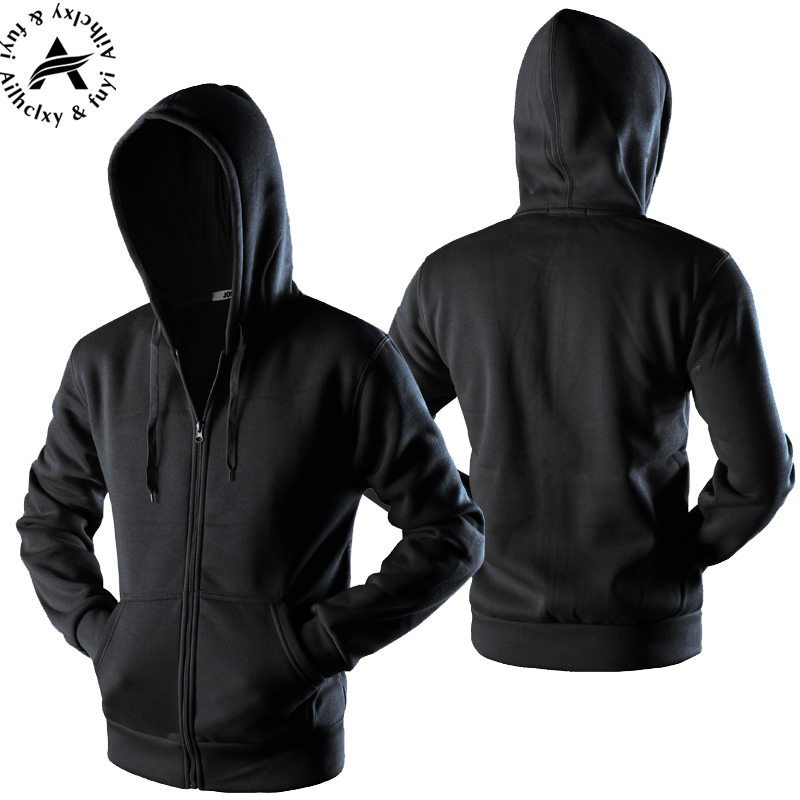 New 2017 Plain Mens Zip Up Hoody Jacket Sweatshirt Hooded Zipper Male Top Outerwear Black Gray