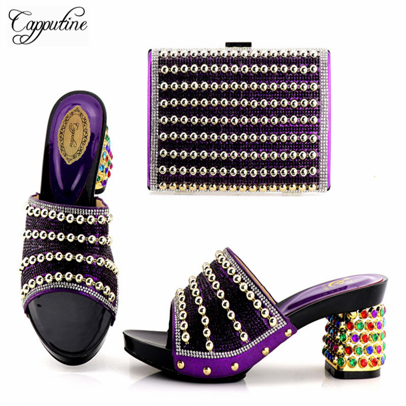 Capputine 2018 Nigeria Style Rhinestone Woman Shoes And Bag Set Newest Italian High Heels Shoes And Bags Set For Party On Sale capputine new arrival fashion shoes and bag set high quality italian style woman high heels shoes and bags set for wedding party